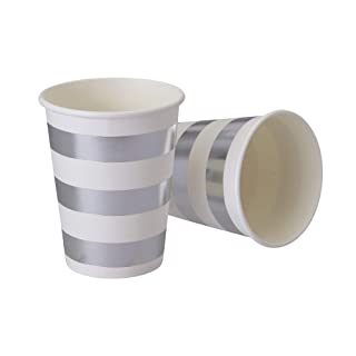 PARTY DISPOSABLE DECORATIVE PAPER CUPS | 9 oz | Metallic Silver Stripe | for Upscale Parties and Events | 24 pc