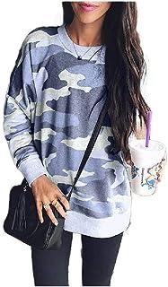 neveraway Womens Classics Pullover Long-Sleeve Crewneck Camo Shirt Top