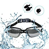 Swim Goggles + Goggles Case + Nose Clip + Ear Plugs, Swimming Goggles with Earplug No Leaking Anti Fog UV Protection for Adult Men Women Youth Kids Child