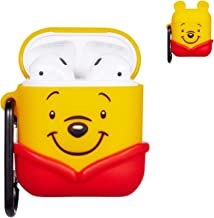 Logee Red Winnie Case for Apple Airpods 1 & 2 Charging Case,Cute Silicone 3D Cartoon Airpod Cover,Soft Protective Accessories Kits Skin with Carabiner,Character kaCases for Kids Teens Girls (Airpods)