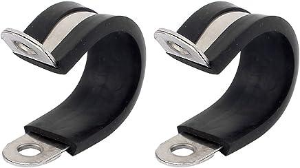 sourcingmap 2pcs de 20mm de di/ámetro Abrazaderas de cable de tubo revestidas de goma con forma de R tubo de acero inoxidable