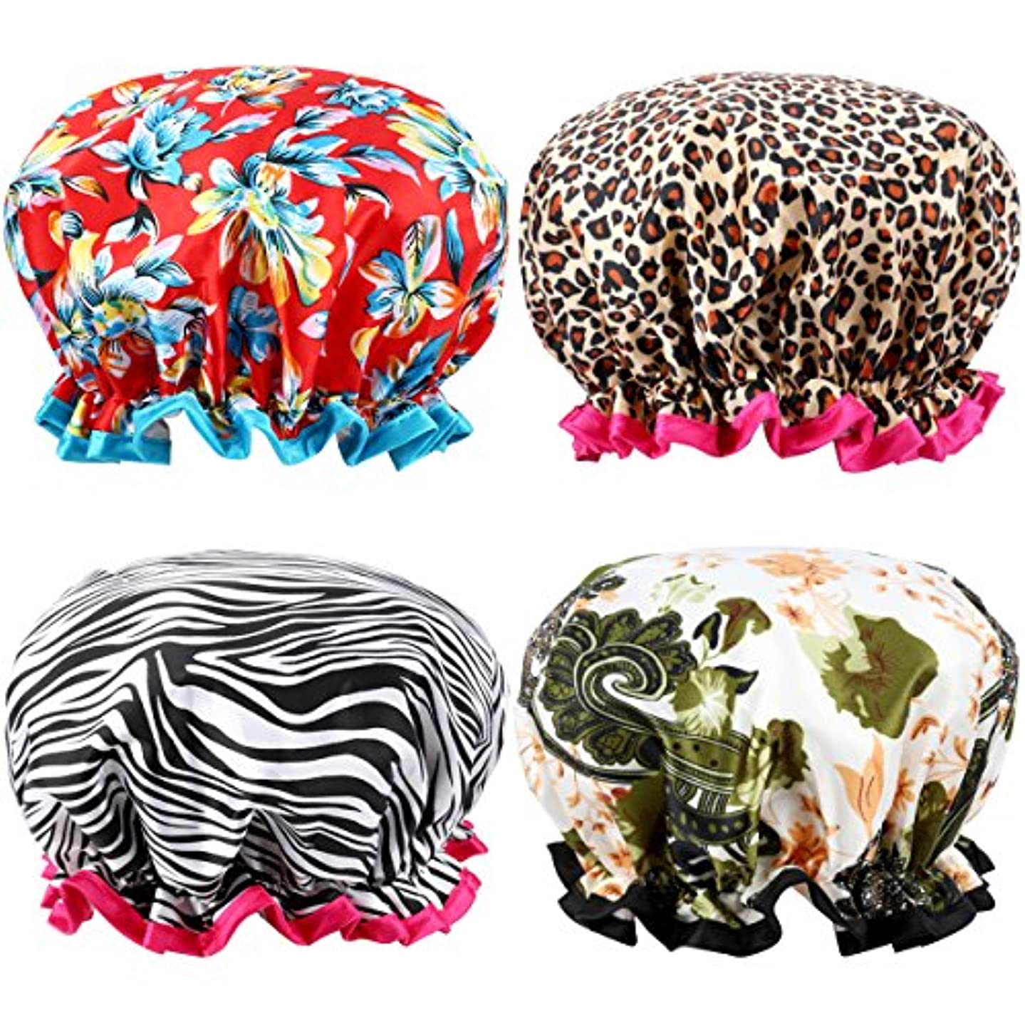 Shower Caps, ESARORA 4 PACK Bath Caps Perfect for Women all Hair Lengths and Thicknesses - Waterproof - Double Layer, Upgraded Version