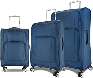Eaglemate 3pc Luggage Set Suitcase Trolley Carry On Soft Lightweight Luggage Set (Blue)