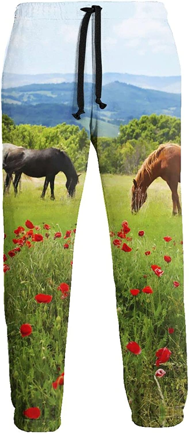 Men's Women's Sweatpants Horse Pasture Red Flowers Athletic Running Pants Workout Jogger Sports Pant
