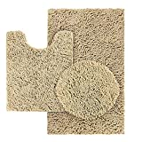 HOMEIDEAS 3 Pieces Beige Bathroom Rugs Set, Ultra Soft Non Slip Bath Rug and Absorbent Chenille Bath Mat, Includes U-Shaped Contour Rug, Bath Mat and Toilet Lid Cover, Perfect for Bathroom, Tub