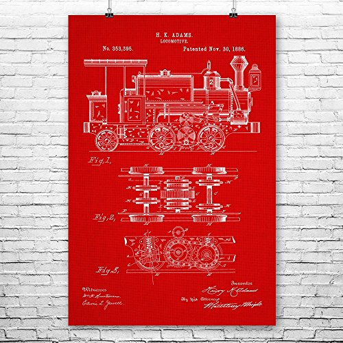 Locomotive Poster Print, Train Station Art, Steampunk Decor, Railroad Engineer, Conductor Gift, Train Blueprint