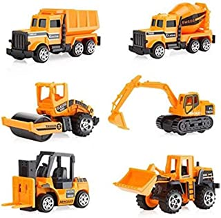 Toy engineering vehicle 6 pcs Die Cast Construction Vehicle Toys Mini Engineering Alloy Model Car Set for Kids Boys - Bulldozers Tractor Forklift Tank Truck Excavator Dumper Road Roller