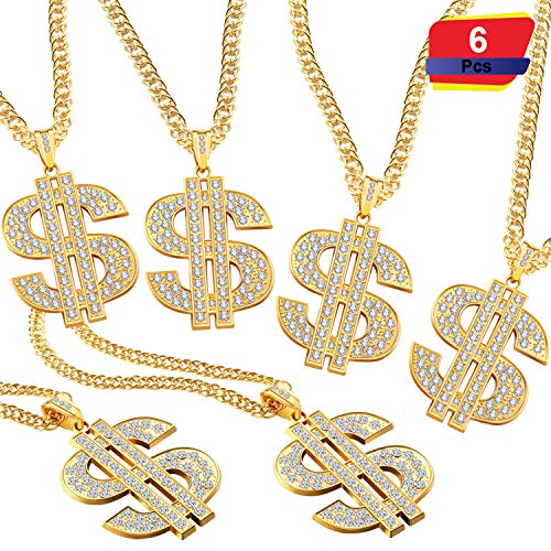 6 Pieces Gold Plated Chain Dollar Necklace for Men with Dollar Sign Pendant Necklace, Hip Hop Dollar Necklace (4 Pieces)
