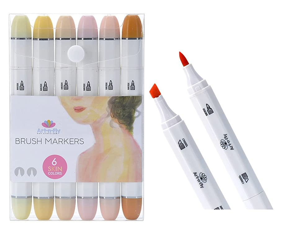 Professional Brush Tip Skin Tone Markers Set of 6 Flesh Colored Manga Markers for Drawing Sketching Illustration