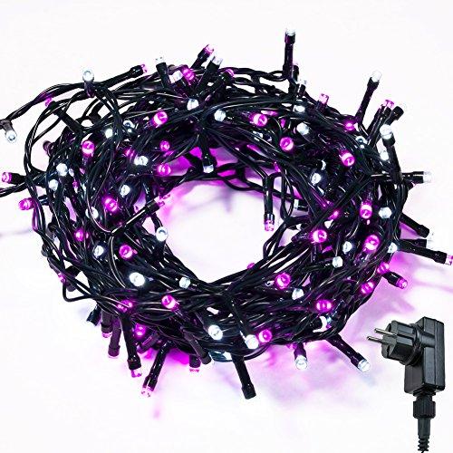 Cadena de Luces WISD 13M 200 LED Guirnalda de Luz Impermeable con 8 Modos y Función de Memoria, Luces de Navidad de Dos Colores, Navidad Fiestas Boda Jardín Dormitorio (Rosado + Blanco)