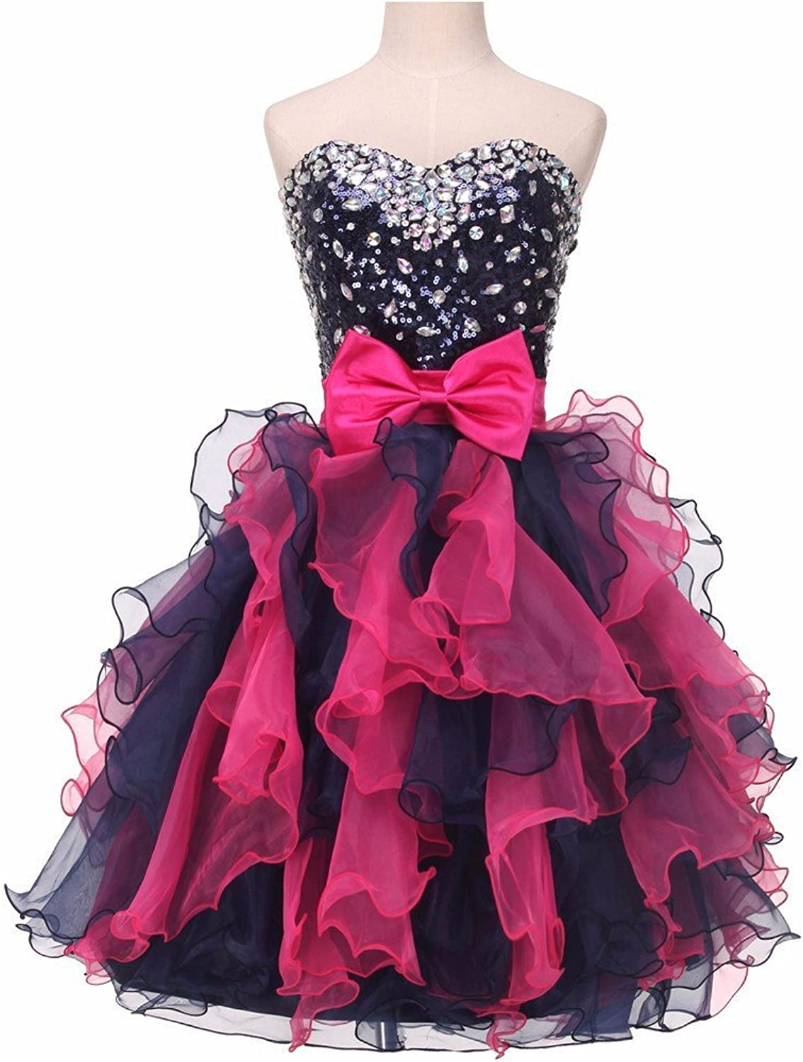 CharmingBridal Women's Ruffle Short Prom Cocktail Homecoming Dress SD049