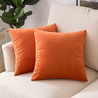 Woaboy Pack of 2 Velvet Throw Pillow Covers Decorative Pillowcases Solid Soft Cushion Covers Pillow Case Square Modern for Couch Living Room Sofa Bedroom Car 18x18 inch 45x45cm Orange