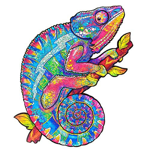 Puzzle De Camaleón Rompecabezas De Madera Animales   Piezas De Rompecabezas De Formas Únicas Wooden Jigsaw Puzzle Chameleon para Niños Adultos