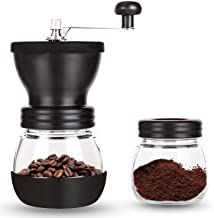InstaCuppa Manual Coffee Bean Grinder, Hand Coffee Mill with 2 Glass Jars Ceramic Burr Stainless Steel Handle for Aeropres...