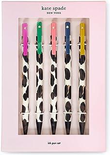Kate Spade New York Black Ink Pen Set of 5, Leopard Print Click Pens, Forest Feline
