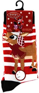 the Red Nosed Reindeer Red and White Striped Christmas Crew Socks for Sizes 4-10