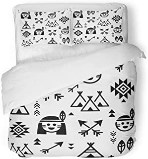 Emvency 3 Piece Duvet Cover Set Brushed Microfiber Fabric Breathable Indian for Boys and Girls Native American with Teepee and Arrows Apache Tribal Bedding Set with 2 Pillow Covers Twin Size