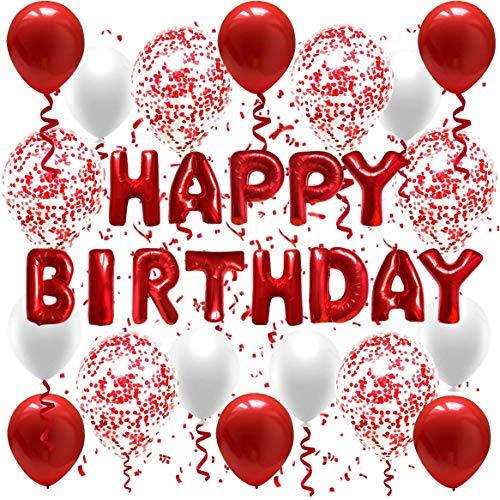 Decoración de cumpleaños para niña, globo con texto 'Happy Birthday', color rojo