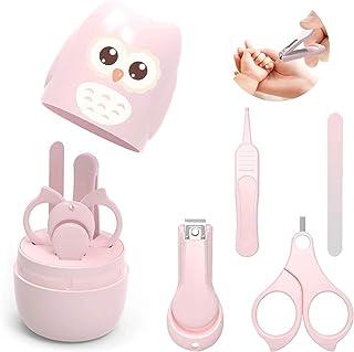 Tijeras para Uñas De Bebés, 4 en 1 Kit de cuidado de bebé, Set de manicura para bebés con Cortauñas, tijeras, pinzas y limas de uñas, cómoda y portátil para niños recién nacidos bebés y niños (rosa)
