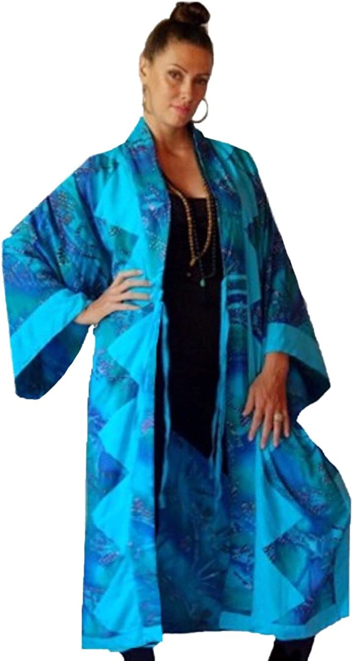 Pockets Rayon Batik Combo LotusTraders Z922 Made to Order Plus Women Kimono Jacket Long