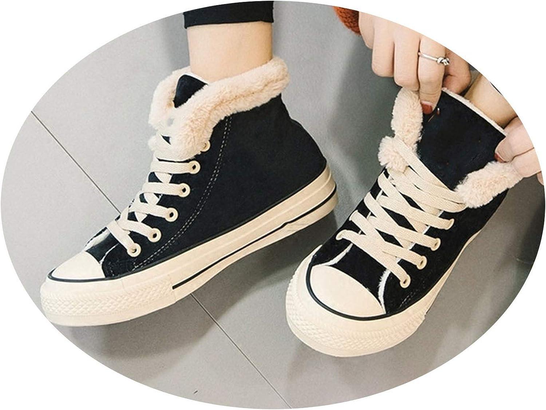 Crazy-shop Snow Boots New Women Pu 2018 Winter Sweet Plus Velvet Solid color Lacing Cotton-Padded shoes
