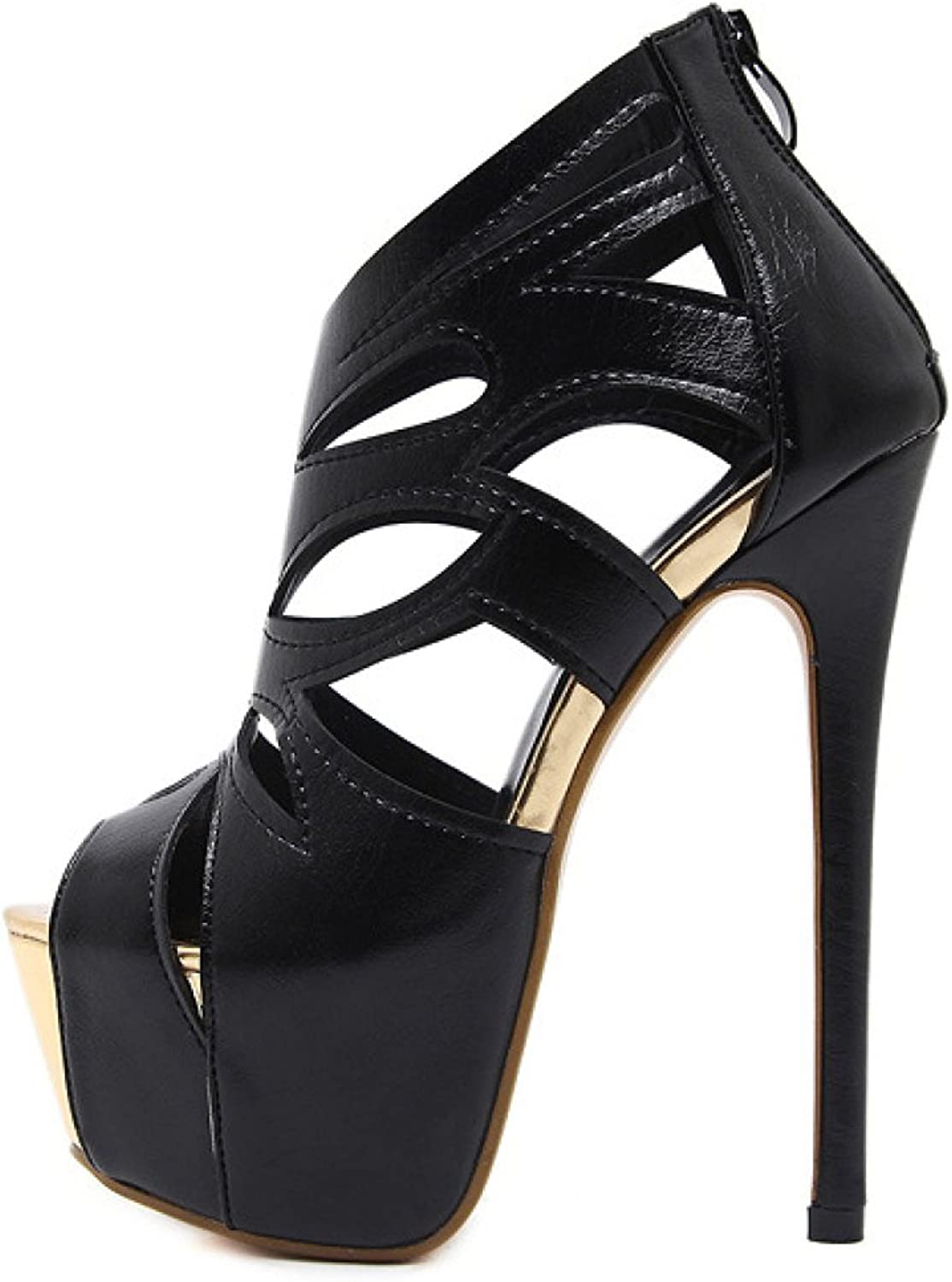 Women's Platform Sandals Stiletto Sexy Party Dress shoes Peep Toe High Heels Pumps,Black-EU 40=9B(M) US