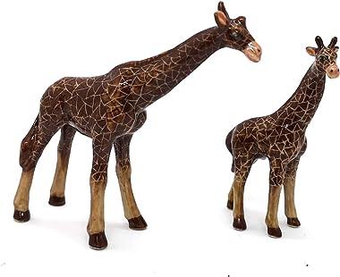 ZOOCRAFT Ceramic Giraffe Figurine Hand Painted Safari Miniature Animals Collectibles Home Decoration Set of 2