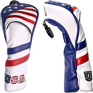 COOLSKY 1PC Golf Club Head Cover USA Flag for Driver Fairway Wood Hybrid Putter Club Synthetic Leather Patriotic Headcover...