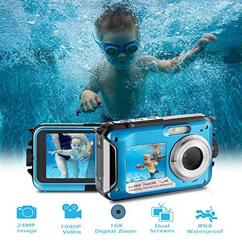 Waterproof Digital Camera Full HD 1080P Underwater Camera 24MP Video Recorder Camcorder Point and Shoot Camera Selfie Dual Screen Waterproof Camera for Snorkeling
