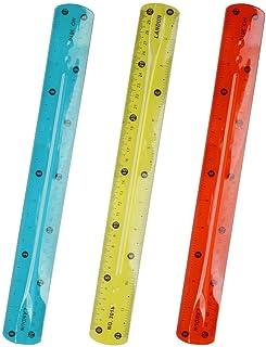 kuou Règle translucide de 30 cm, incassable et flexible, lot de 3 couleurs (couleur aléatoire)
