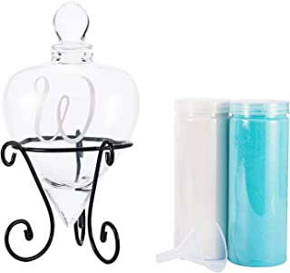 AF ANDREW FAMILY Monogrammed Etched Wedding Glass Heart Shaped Unity Set with Metal Stand-Initial W White& Blue Sand Included