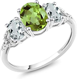 Gem Stone King 10K White Gold Oval Green Peridot Sky Blue Aquamarine and Diamond Accent 3-Stone Women's Engagement Ring 2.24 Ctw (Available 5,6,7,8,9)