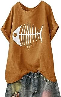 MURTIAL Women T-Shirt Casual Solid Blouse Fish Bone Print Loose Short Sleeve Shirt Funny Tops