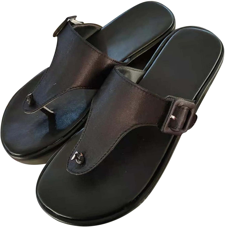 Women Flip-Flops Slides Thong Sandal Adjustable Platforms Wedges Sandals Summer Casual Wedge Metal Button Slippers