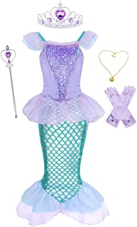 WonderBabe Mermaid Costume for Little Girls Dress Up Princess Fancy Party Halloween Birthday Dresses Outfit Crown Scepter ...