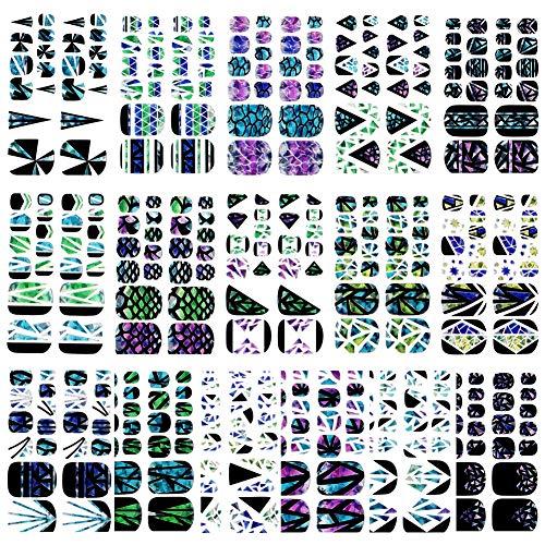 16 Sheets Full Wraps Nail Art Polish Stickers Decal Nail Strips Adhesive False Nail Design Manicure Set (color09)