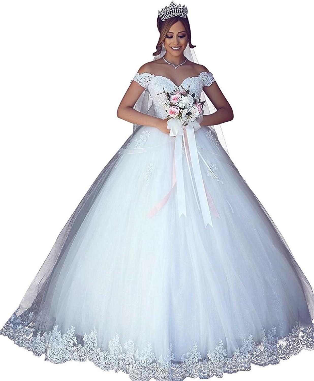 LIURU.DRESS Women's Plus Size Elegant OffShoulder Ball Gown Lace Applique Wedding Dress Bridal Gown