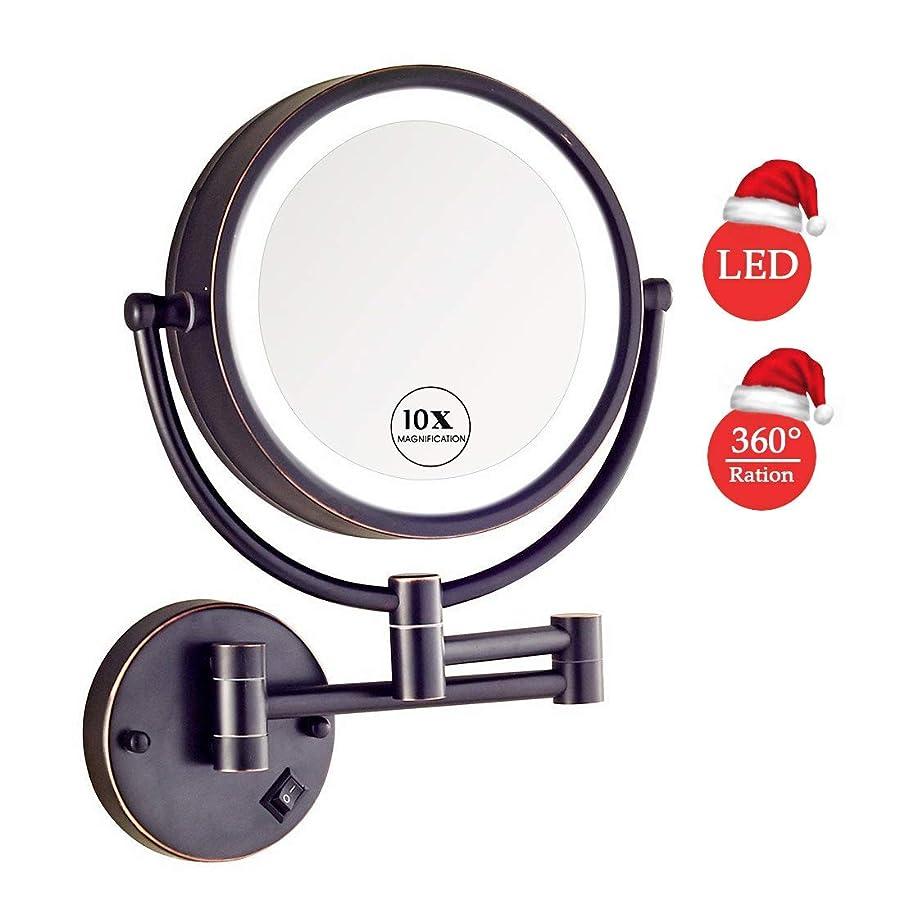 発生器何もないメトロポリタン壁に取り付けられたメイクアップミラーLED照明、8.6インチ両面10X倍率360度;?プラグ式のバスルームホテル用の回転式拡張化粧化粧鏡