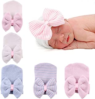 Newborn Hospital Hat Infant Baby Hat Caps with Bow Soft Cute Nursery Beanie Hat