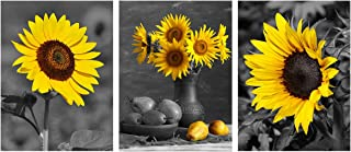 Black Yellow Sunflower Wall Art - Modern Floral Poster Flowers Canvas Painting Home Office Decor Wall Decoration for Living Room Kitchen Bedroom Picture Giclee Print Artwork 3 Panels 12x16'' unframed