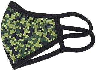 Mascarilla higiénica para niños de tela, reutilizable, lavable con estampado verde militar pixelado, unisex, talla niños