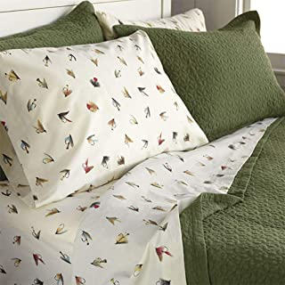 Orvis Marbury Vintage Flies Percale Sheet Set, Duvet Cover and Sham/Only Queen Sheet Set, Queen