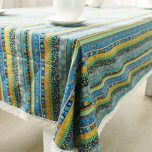Mantel de Rayas de Estilo Bohemio, Mesa de Comedor, Juego de Mesa de Encaje, Cocina, decoración del hogar, S 140x200cm
