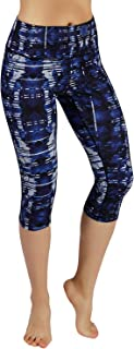 High Waist Out Pocket Printed Yoga Pants Tummy Control Workout Running 4 Way Stretch Yoga Leggings