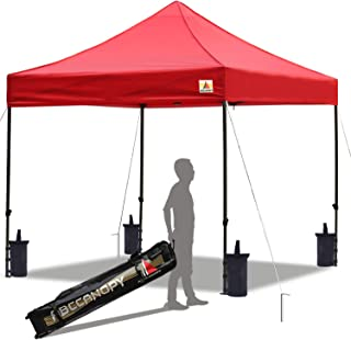 ABCCANOPY Pop up Canopy Tent Commercial Instant Shelter with Wheeled Carry Bag, Bonus 4 Canopy Sand Bags, 10x10 FT Red