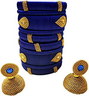 Festive Offer: Handcrafted Designer Silk Thread Bangles with Jhumka for Women in