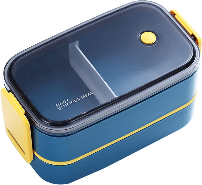 SaltshIII Fiambrera Original Bento Box Fiambreras Divisorias para Niños Adultos Trabajo Escuela Microondas Lavaplatos 22×12×11cm/Azul