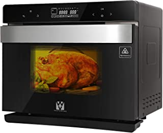 Vestaware Convection Steam Oven, 32Qt Smart Countertop Toaster Oven LED Display Wall Oven with 5 Predefined Programs/4 Menus with 32 Predefined Recipes/DIY modes Includes Baking Pan Grill Rack Mitts