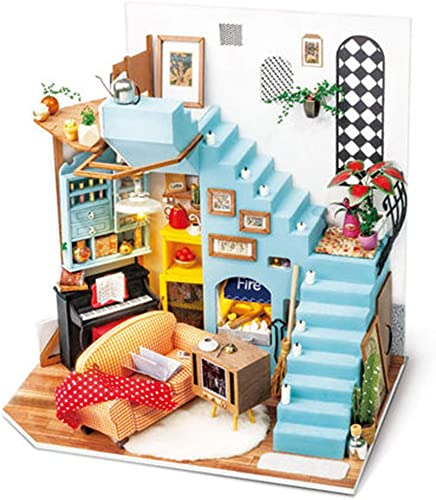 high quality Rolife sale Miniature Dollhouse,DIY Wooden House Kit,3D House Puzzle Model,Creative Room Decorations with Furniture and LED,Best outlet online sale Birthday Gift (Joy's Peninsula Living Room) outlet sale