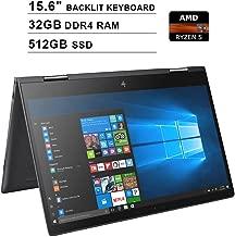 2019 HP Envy x360 15.6 Inch FHD 2-in-1 Touchscreen Laptop (AMD Ryzen 5 2500U 4-Core up to 3.6GHz, 32GB RAM, 512GB SSD, AMD Radeon Vega 8, Backlit KB, WiFi, Bluetooth, HDMI, Win10) (Renewed)